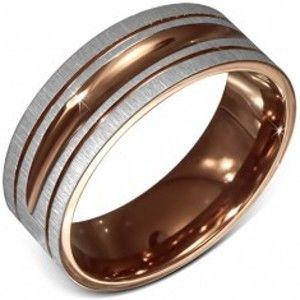 Prsten z chirurgické oceli, saténový, dvoubarevný, ozdobné rýhování BB4.9