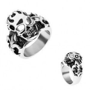 Prsten z chirurgické oceli stříbrné barvy, patinovaná lebka, Fleur de Lis X30.6