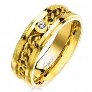 Prsten z chirurgické oceli zlaté barvy s řetízkem a čirým zirkonem, 7 mm M16.13