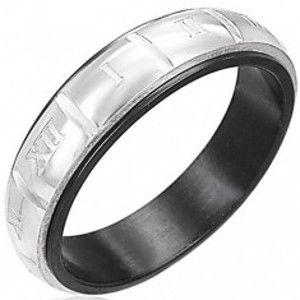 Prsten z oceli - gravírované římské číslice, stříbrná a černá barva F8.6
