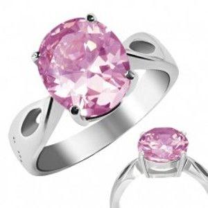 """Prsten z oceli - růžový kámen """"Říjen"""", slzičkové výřezy E6.6"""