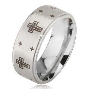 Prsten z oceli - stříbrná obroučka s matným středem, potisk kříže BB10.03