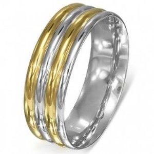 Prsten z oceli - stříbrno-zlaté zaoblené pásy B3.10