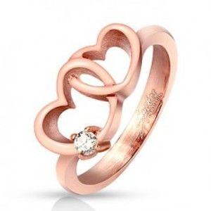 Prsten z oceli 316L, měděný odstín, propojené obrysy srdíček, zirkon HH14.17