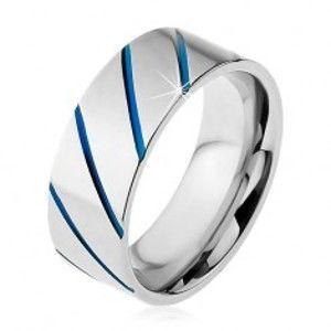 Prsten z oceli 316L stříbrné barvy, modré diagonální pruhy, 8 mm M09.21