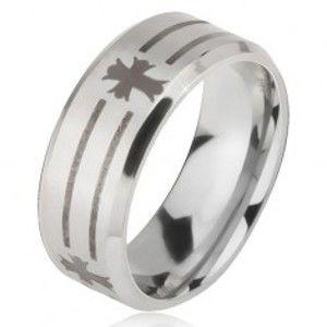 Prsten z oceli 316L stříbrné barvy, potisk s proužky a kříži, 6 mm K08.18