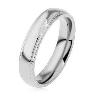 Prsten z oceli 316L, stříbrný odstín, lesklý střed a vroubkované okraje H4.06
