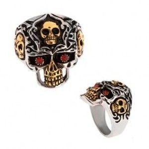 Prsten z oceli 316L, zlato-stříbrná lebka, červené kamínky BB4.1