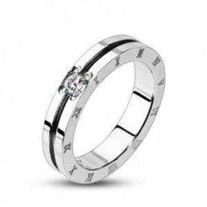 Prsten z oceli se zirkonem a římskými čísly F9.18