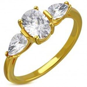 Prsten z oceli ve zlatém odstínu - čirý třpytivý zirkon, zirkonové slzičky C22.05