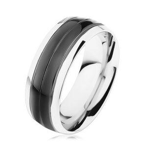 Prsten z oceli 316L, černý pás, lemy stříbrné barvy, vysoký lesk - Velikost: 56