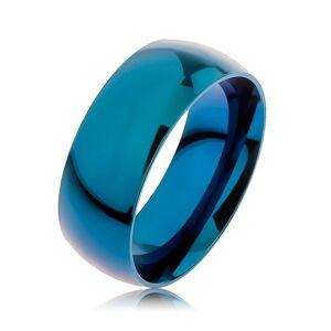 Prsten z oceli 316L, modrá barva, anodizovaný titanem, 8 mm - Velikost: 65