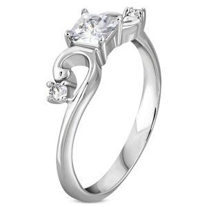 Prsten z oceli 316L stříbrné barvy, zirkonový čtvereček, zatočená ramena - Velikost: 59