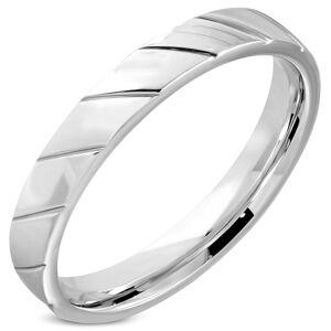 Prsten z oceli - diagonální zářezy v podobě zrnek, lesklý povrch, 4 mm - Velikost: 57