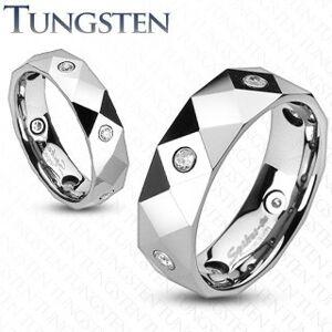 Prsten z wolframu s kosočtverci, trojúhelníky a zirkony - Velikost: 51, Šířka: 6 mm