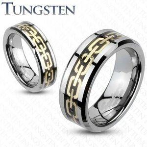 Prsten z wolframu s řetízkem zlaté barvy - Velikost: 69, Šířka: 8 mm