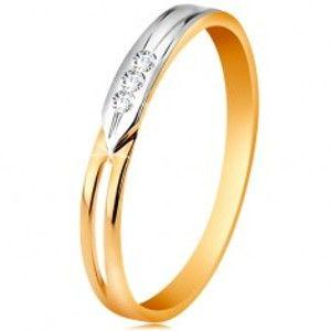 Prsten ze 14K zlata, dvoubarevná ramena s výřezem a třemi čirými zirkonky GG189.43/49
