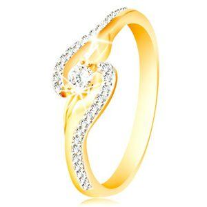 Prsten ze 14K zlata - zahnuté konce ramen, úzké zirkonové linie a větší zirkon - Velikost: 56