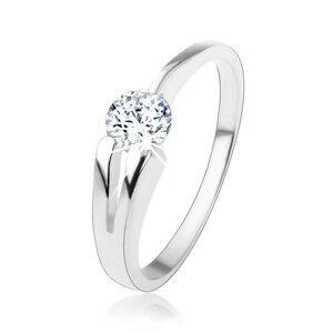Prsten ze stříbra 925, čirý kulatý zirkon, rozdvojené rameno - Velikost: 59