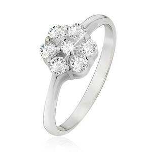 Prsten ze stříbra 925, květ z čirých okrouhlých zirkonů - Velikost: 51