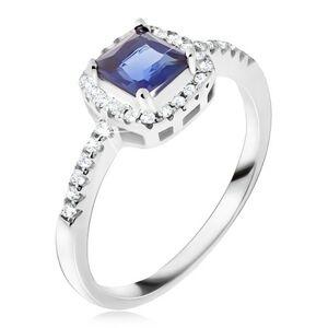 Prsten ze stříbra 925, modrý čtvercový kamínek, zirkonový lem - Velikost: 62