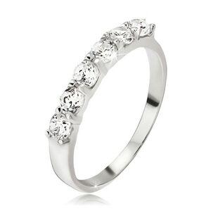 Prsten ze stříbra 925, pás kulatých čirých zirkonů v kalíšcích - Velikost: 65
