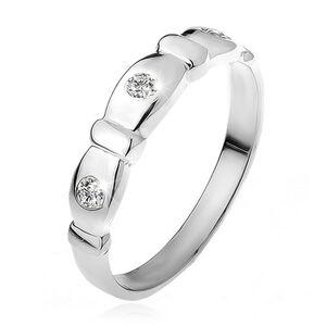 Prsten ze stříbra 925, seříznuté ovály, čiré kamínky, pásky - Velikost: 59
