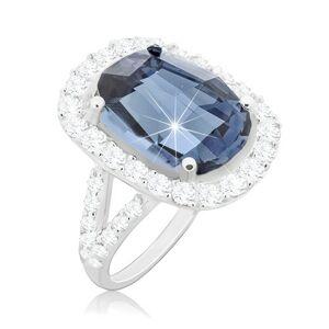 Prsten ze stříbra 925, velký broušený zirkon modré barvy s čirou obrubou - Velikost: 50