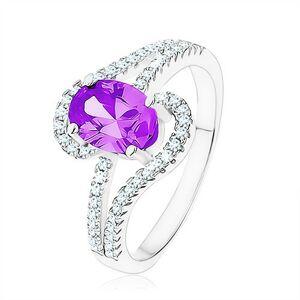 Prsten ze stříbra 925, zirkon tanzanitové barvy, slzičkovité obrysy - Velikost: 49