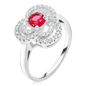 Prsten ze stříbra 925, zirkonový trojlístek, okrouhlý červený kámen - Velikost: 64