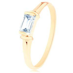 Prsten ze žlutého 14K zlata - čirý obdélníkový zirkon, dekorativní obloučky - Velikost: 52