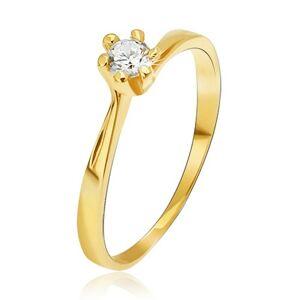 Prsten ze žlutého 14K zlata - zúžená ramena u kotlíku, kulatý kamínek - Velikost: 56