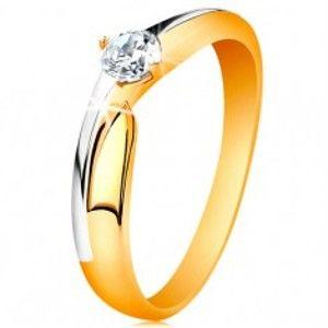 Prsten ze 14K zlata - dvoubarevná ramena, blýskavý zirkon čiré barvy GG197.65/71