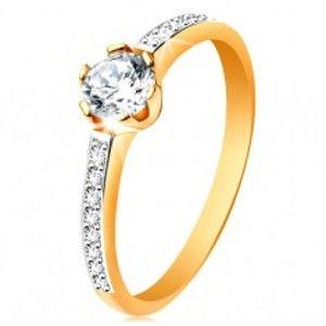 Prsten ze 14K zlata - zářivý kulatý zirkon čiré barvy, zirkonová ramena GG195.60/67
