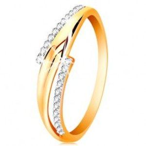Prsten ze 14K zlata, zvlněná dvoubarevná ramena, čiré zirkonové linie GG201.66/73