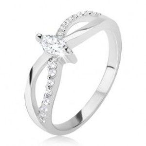 Prsten ze stříbra 925 - motiv nekonečna, zirkonový pás, elipsovitý kamínek J9.15