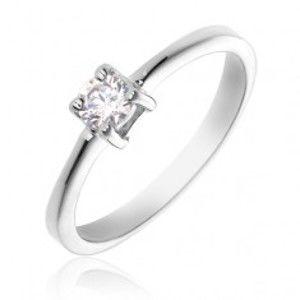 Prsten ze stříbra 925 - kulatý čirý kámen, čtyři úchyty X6.5
