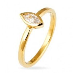 Prsten ze stříbra 925 - vystouplý zirkon v zrnkové obruči, zlatý odstín E7.7