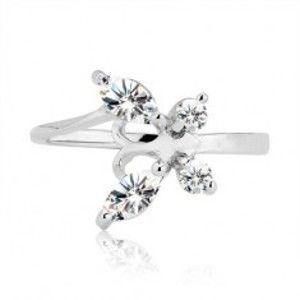Prsten ze stříbra 925 - zirkonový motýl s tykadly H15.19