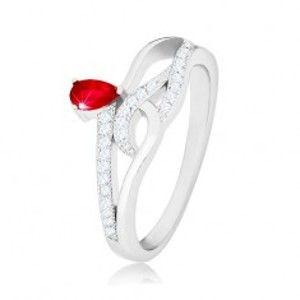 Prsten ze stříbra 925, červený slzičkovitý zirkon, zvlněné zirkonové linie K08.07