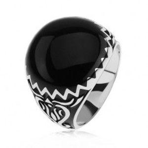 Prsten ze stříbra 925, černé zdobení, cik cak vzor a ornamenty SP39.16