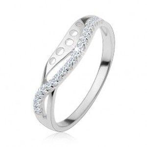 Prsten ze stříbra 925, čirá zirkonová vlnka, hladká linie s kulatými výřezy HH17.19