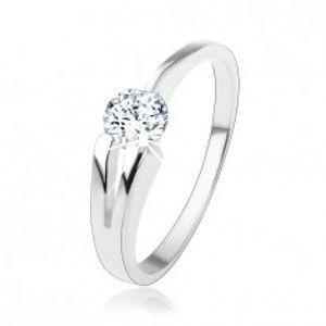 Prsten ze stříbra 925, čirý kulatý zirkon, rozdvojené rameno HH2.1