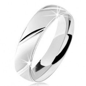 Prsten ze stříbra 925, matný povrch, šikmé lesklé zářezy S61.31