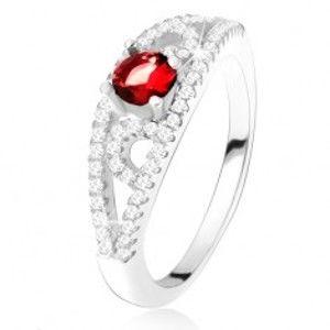 Prsten ze stříbra 925, kulatý červený zirkon, linie s čirými kamínky SP26.28