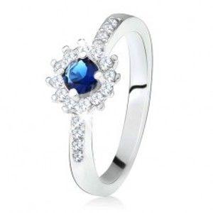 Prsten ze stříbra 925, kulatý tmavě modrý kamínek a čiré zirkony T23.1