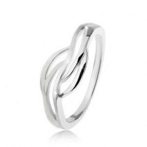 Prsten ze stříbra 925 s rozdělenými rameny, lesklé a matné vlnky M13.11