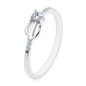 Prsten ze stříbra 925, úzká ramena zdobená čirými zirkony, trojzubec H9.06