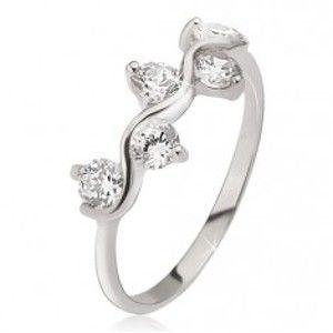 Prsten ze stříbra 925, vlnkový vzor, kulaté čiré zirkony J8.18