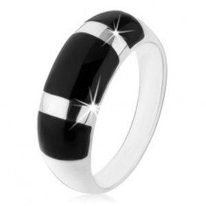 Prsten ze stříbra 925, vypouklý zaoblený povrch, černé onyxové obdélníky HH4.14